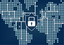 IT security for global organization to prevent data and network breaches. With dark blue blurred background Stock Image