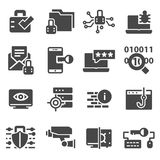 Security gray icon set, cyber protection symbols collection. On white background Stock Images