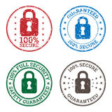 Security Guarantee Stamp Icons Stock Photo