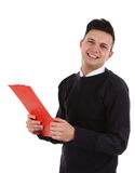Security guard. A security guard with a clipboard, isolated on white royalty free stock photos