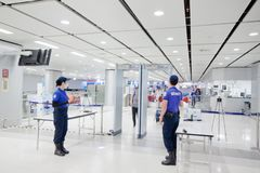 Security guard on Airport Link train station. Bangkok/Thailand - Jul 3 2018 : Security guard on Airport Link train station stock photo