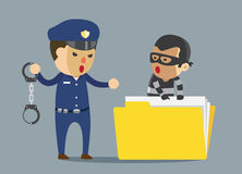 Security guard arrest bandit with handcuff which robbery business data. Royalty Free Stock Photo