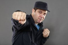 Security guard attack position Royalty Free Stock Image