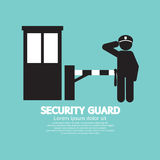 Security Guard With Closed Barrier Gate Royalty Free Stock Photography