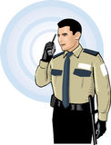 Security guard communicating vector illustration