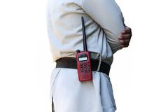 Security guard controlling with walkie radio transmitter Stock Photos