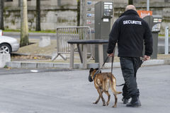 Security guard with a dog. Security guard in a parking area stock photo