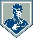 Security Guard Flashlight Shield Retro Royalty Free Stock Photo