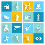 Security Guard Flat Set Royalty Free Stock Image