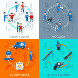 Security guard 4 flat square. Security guard officer protective surveillance and equipment 4 flat icons square composition banner abstract isolated vector Royalty Free Stock Photography