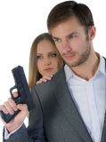 Security guard with the gun and the woman Stock Image