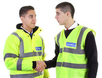 Security guard hand shake Stock Photos