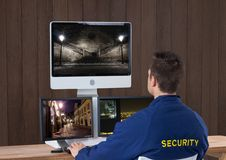 security guard with his technology stock image