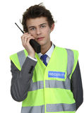Security guard with radio Royalty Free Stock Photography