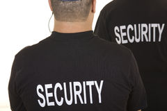 Security guard isolated on white. With black tshirt royalty free stock photo
