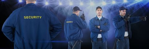 Security guard man collage against concert background stock image