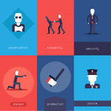 Security guard mini poster set Royalty Free Stock Photos