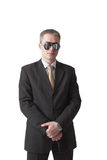 Security guard in mirror glasses. Serious security guard in mirror glasses royalty free stock photography