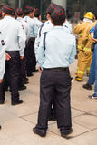 security guard in mock disaster drill Royalty Free Stock Image