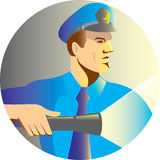 Security guard policeman officer flashlight torch Royalty Free Stock Photo