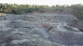 The security guard protects the quarry. Aerial footage, 4K stock video footage