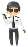 Security guard with radio and torch. Illustration Stock Images