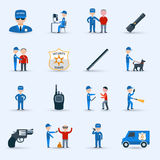 Security guard service icons set Royalty Free Stock Photography