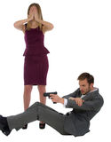 Bodyguard protects the woman. Security guard shoots from the gun protects the women isolated on a white background royalty free stock photos