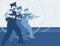 Security guard team. Fascist or socialist style illustration of a security guard team holding shotguns Royalty Free Stock Photo