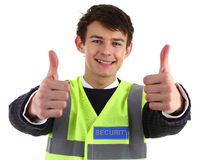 Security guard with a thumbs up sign Royalty Free Stock Image