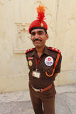 Security Guard. UDAIPUR, INDIA, MARCH 5: An unidentified security guard at the gate of the City Palace on the east bank of Lake Pichola in Udaipur, Rajasthan Stock Photo