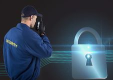 Security guard using radio with virtual lock in background Stock Image
