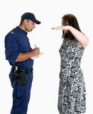 Security Guard and victim. Security guard obtains details of an assault and robbery victim Stock Images