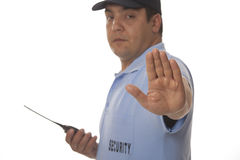 Security guard with walkie talkie Royalty Free Stock Photography
