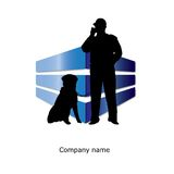Security guardian and dog Royalty Free Stock Photos