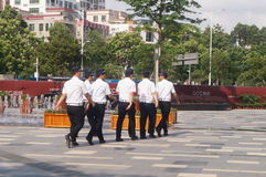 Security guards on duty in residential quarters Stock Photo