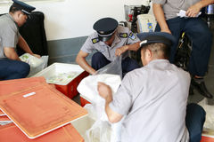 Security guards have lunch, amoy city, china Stock Photography