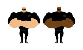 Security Guards nightclub. Two bodybuilder guarding entrance. Po. Werful people with big biceps Stock Photography