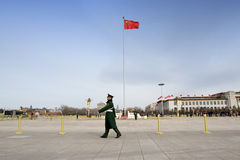 Security guards patrol on Tiananmen square Royalty Free Stock Images