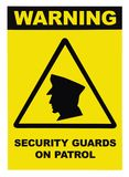 Security guards on patrol warning text sign, isolated, black, white, large detailed signage closeup. Security guards on patrol warning text sign, isolated, black Stock Photography