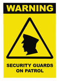 Security guards on patrol warning text sign label, isolated, black, yellow, large detailed macro closeup stock photo