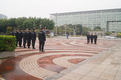 Security guards in the square formation training Stock Photography