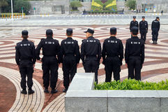 Security guards in the square formation training Royalty Free Stock Photo