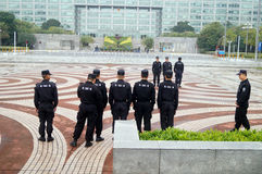 Security guards in the square formation training Royalty Free Stock Photography