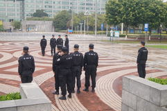 Security guards in the square formation training Stock Images