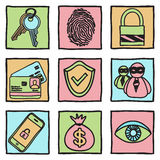 Security and hacker icons Stock Images