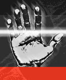 Security hand print. A print of a hand in the style of a digital signature with a red section at the bottom for adding a message Stock Photos