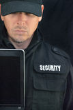 Security Holds Laptop Display To Camera Stock Photography