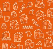 Security of housing and office buildings, background, seamless, orange-brown. Royalty Free Stock Photos