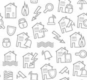 Security of housing and office buildings, background, seamless, white. Vector background with gray outline drawings on a white field. Insurance and protection Stock Photo